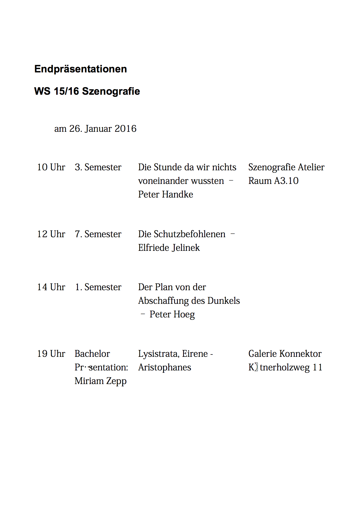 Endpräsentationen WS15:16